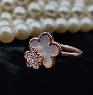 Sterling Silver Twin Flower Rose Gold Ring.