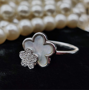 Sterling Silver Twin Flower Ring.